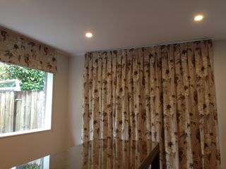 Inverted Pleated curtains with Roman Blind